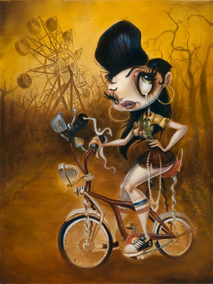 peters painting cartoon humor art girl on bike surreal