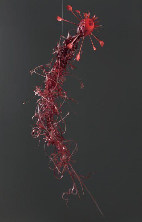 recycled plastic sculpture red love bite matrix creature