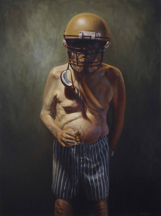 retired american football player old aged man art funny painting