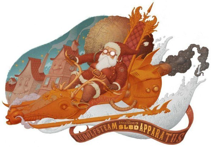 santa claus steampunk illustration robot rudolph