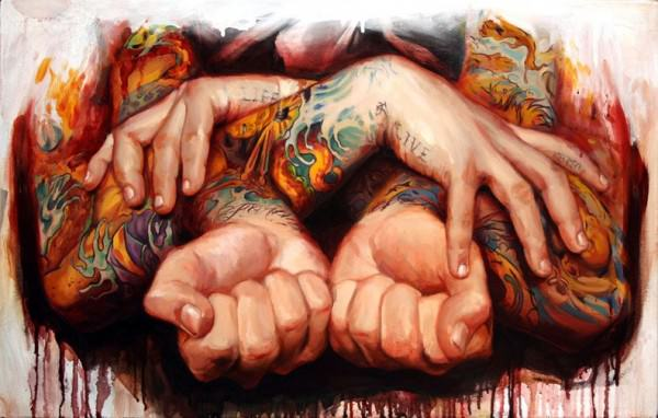Shawn Barber paints tattooed hands with his wet splatter style
