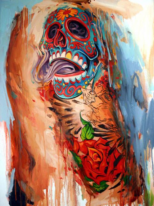 shawn barber tattoo painting body art skull portrait