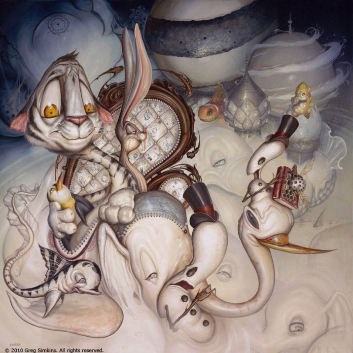 "Cartoon and graffiti art find its way into this comical yet spooky pop surrealism painting by Greg ""Craola"" Simkins"