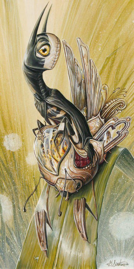 Greg Craola Simkins combines graffiti, pop surrealism and cartoon art to create this bizarre parody of Batman
