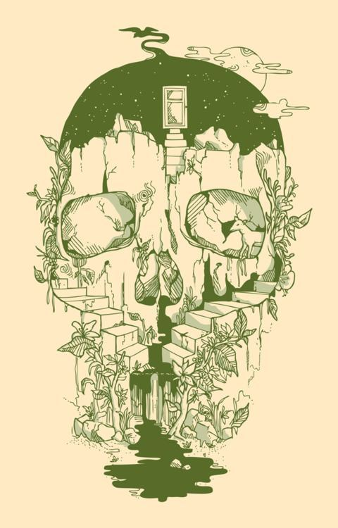skull-cliff-stairs-plants-nature-illustration-design-photohsop-digital-art