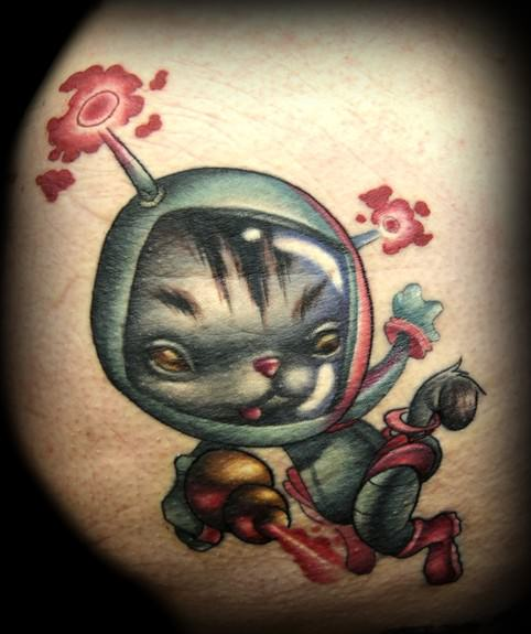space kitty cat cartoon tattoo design character cute