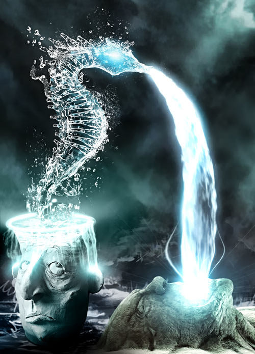 stone faces water seahorse fountain surreal photoshop painting art