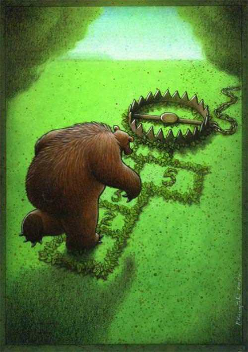 surrealism painting art bear trap hopscotch humor design