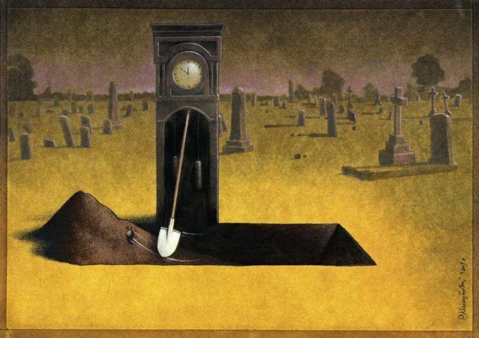 surrealism painting grandfather clock grave digger irony humor art
