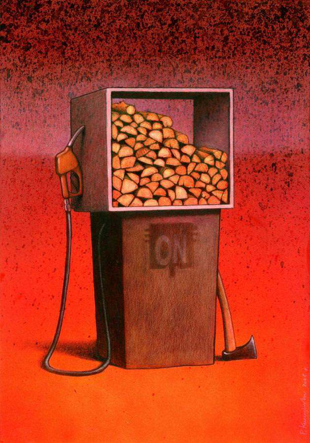 surrealism painting humor irony art design wood oil fuel crisis