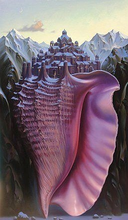 surrealism painting sea shell town mountains clever art