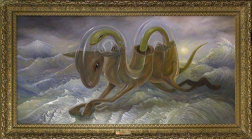 surrealism-weird-art-painting-glass-camel-water-snake