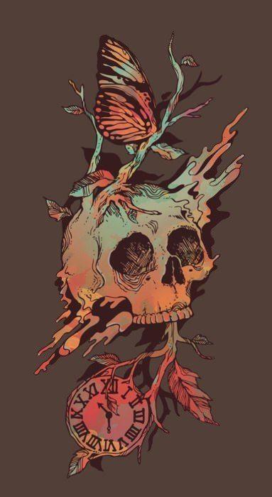 time-clock-skull-butterfly-design-tattoo-illustration-art