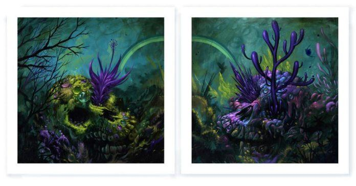 underwater sea skulls seaweeed art design illustration