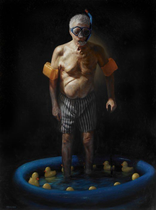 yarmosky old age man swimming ducky funny painting humor