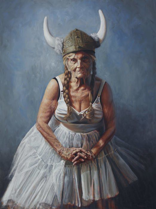 yarmosky old aged ballerina woman granny viking humor funny painting art