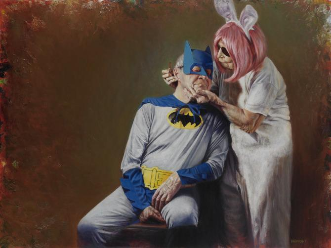 yarmosky old aged man woman relationships superhero batman funny painting art
