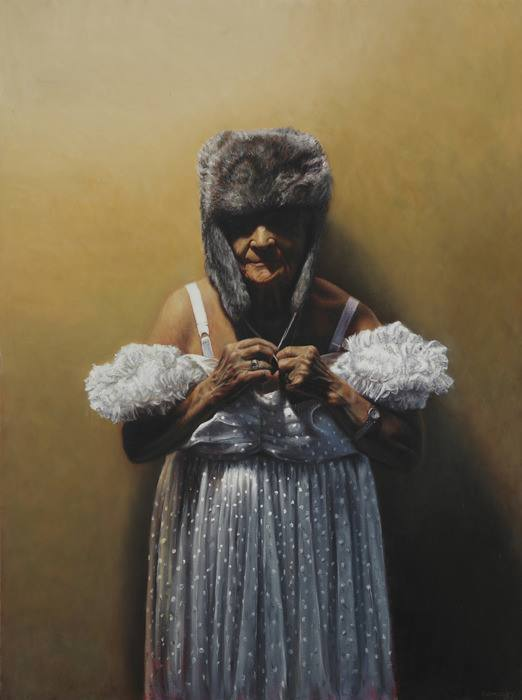 yarmosky old aged woman fur hat wedding dress obcure art funny painting