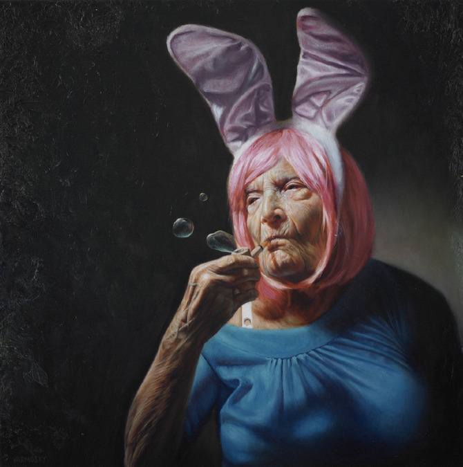yarmosky old woman bunny ears smoke bubbles funny painting