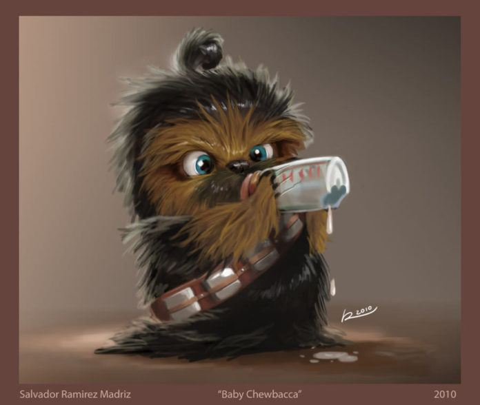 baby chewbacca star wars cute funny photoshop painting art