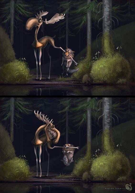 big bad wolf wicked reindeer funny photoshop painting digital illustration art