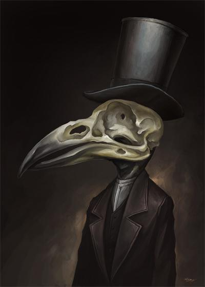 bird skull head suit gothic portrait macabre illustration