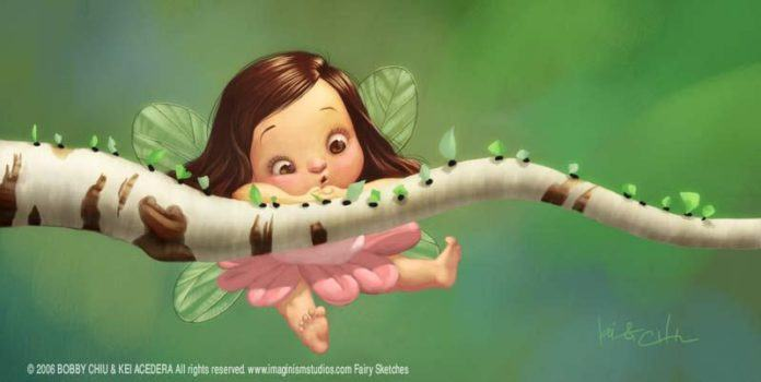 bobby chiu pixar style photoshop illustration cute fairy girl ants