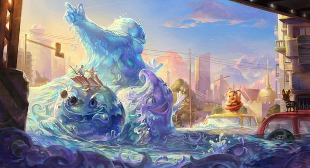 cartoon tsunami sea wave creature funny photoshop painting art