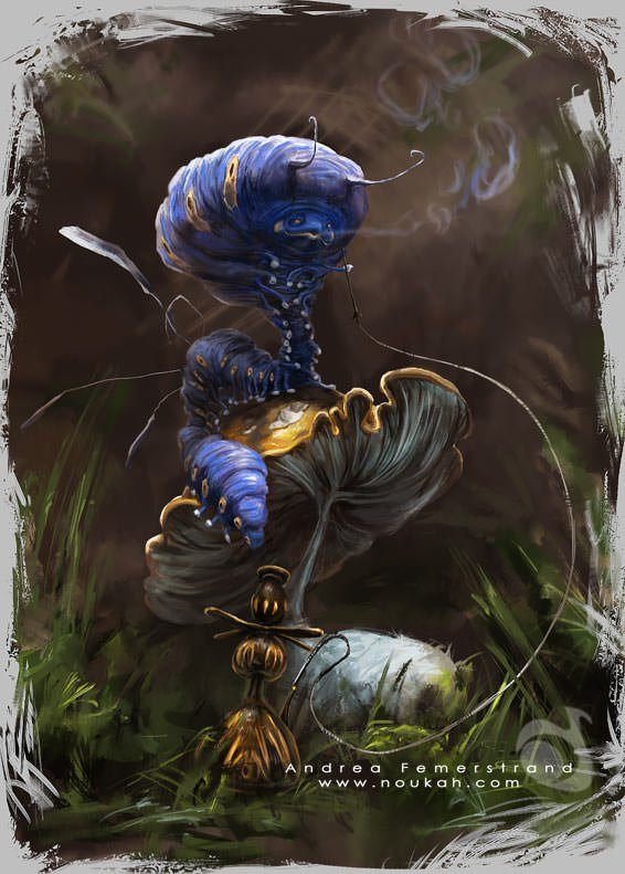 caterpillar alice in wonderland character design photoshop painting digital illustration