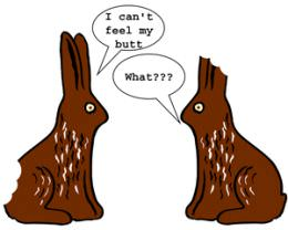 chocolate easter bunny butt ears eat food funny cartoon humor picture image