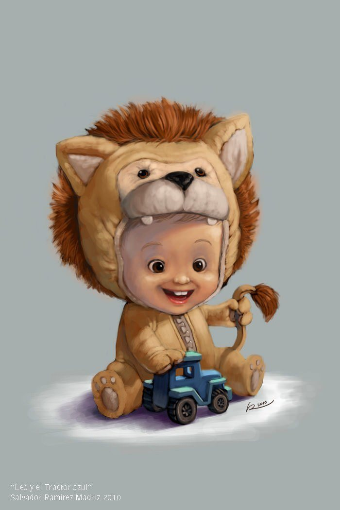 cute baby toddler lion suit anne geddes style illustration