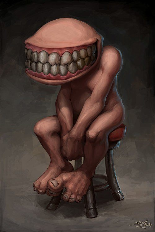 cute creepy character design illustration teeth grin funny