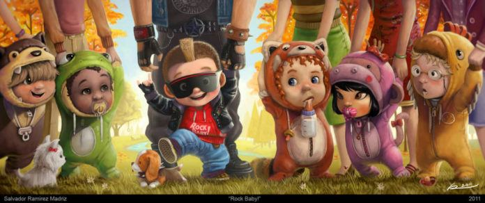cute kids photoshop painting rock baby toddlers character design art
