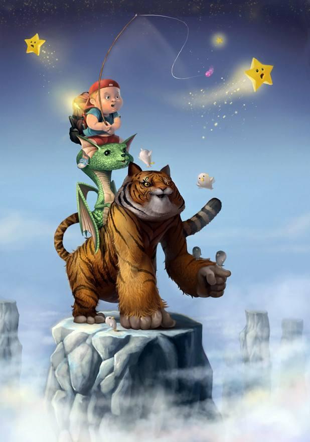 cute photoshop character painting art illustration fun design tiger dragon boy