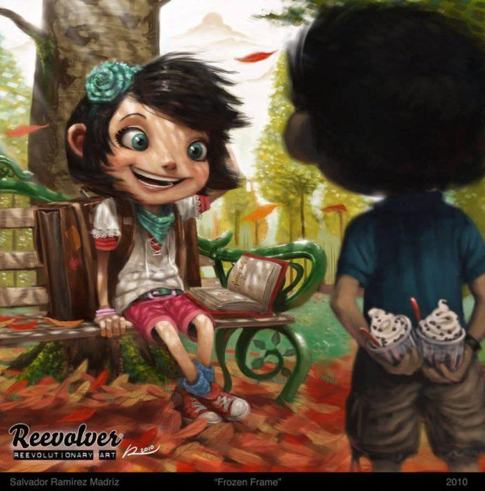 cute photoshop painting life relationships ice cream park bench art