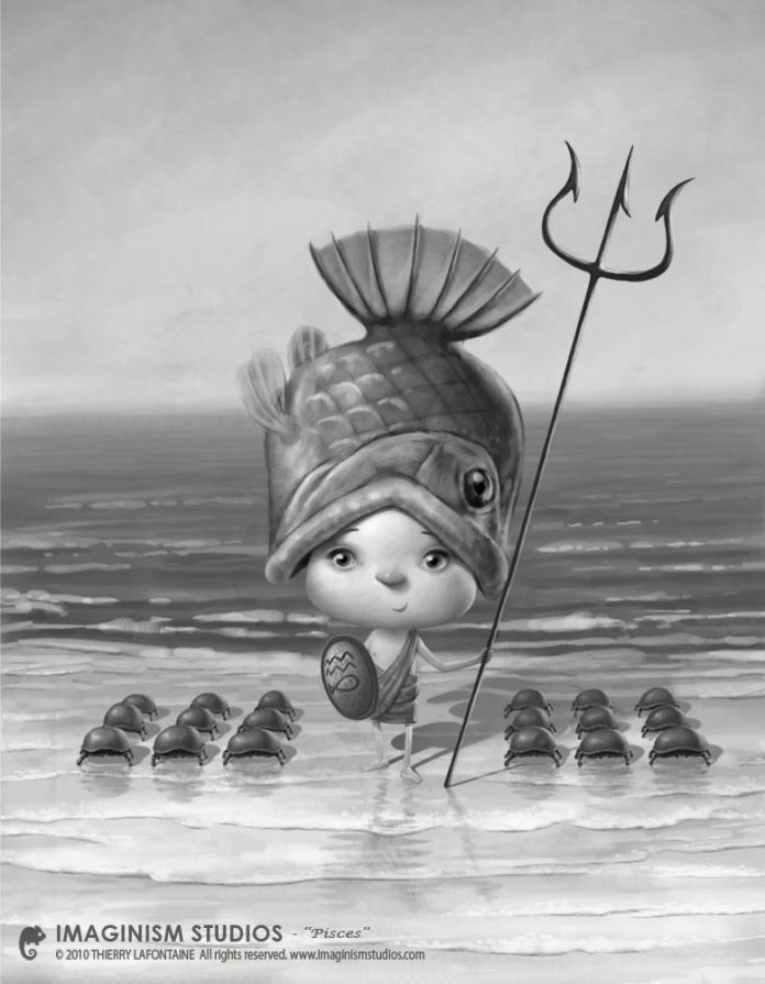 cute photoshop pixar style illustration baby poseidon myths legends art