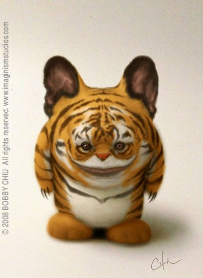 cute tiger baby character design pixar style photoshop illustration art
