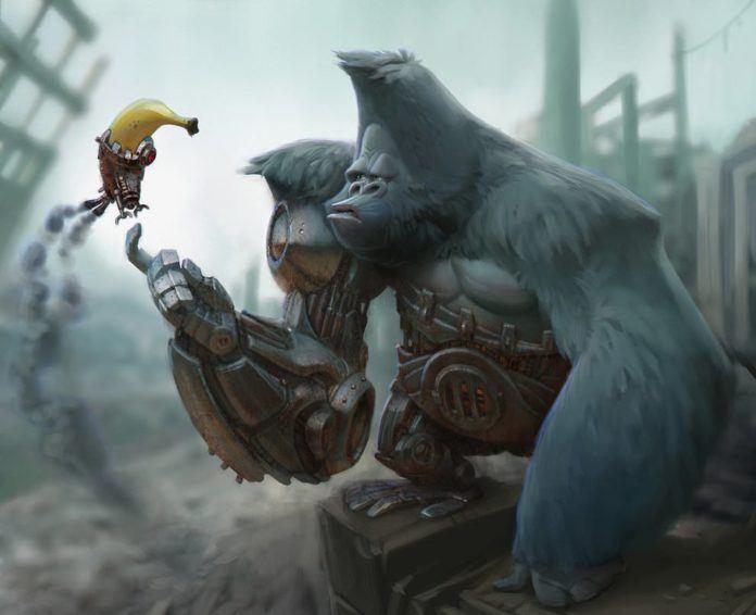 cyborgorilla cyborg half robot machine gorilla godzilla banana rocket funny photoshop painting