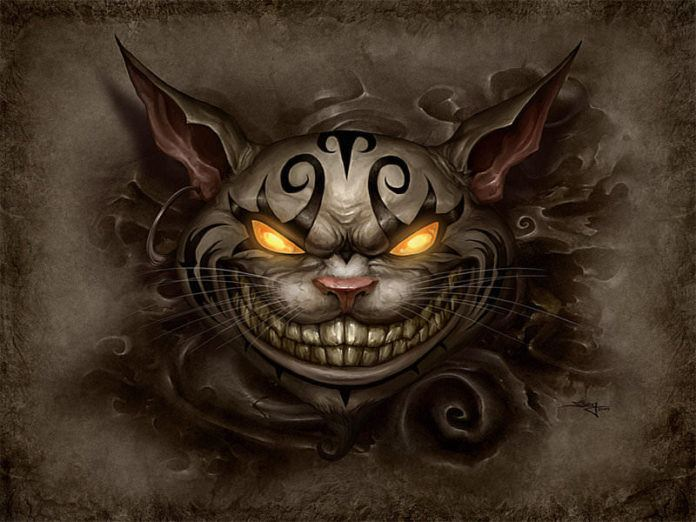 evil cheshire cat alice in wonderland fan art illustration character design