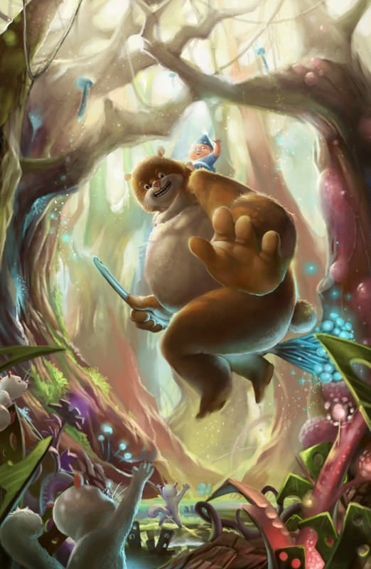 funny fantasy photoshop painting bear farting forest art