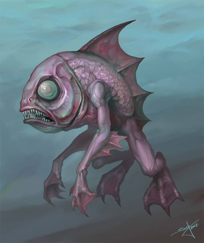 fish with legs creature character design scary art illustration