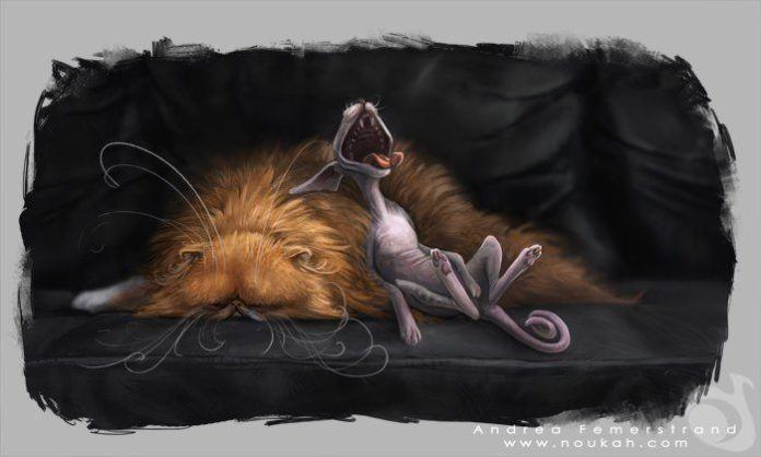 fluffy cat bald hairless funny photoshop art digital painting character design