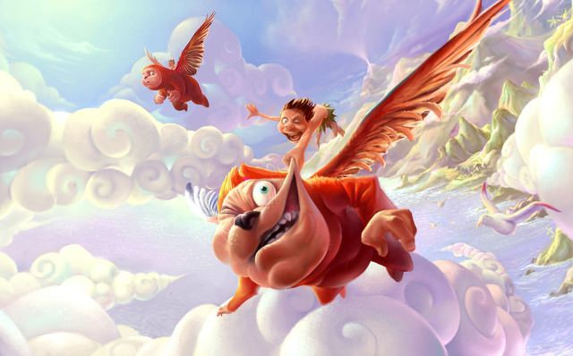 funny fantasy photoshop painting flying creature animal humor illustration