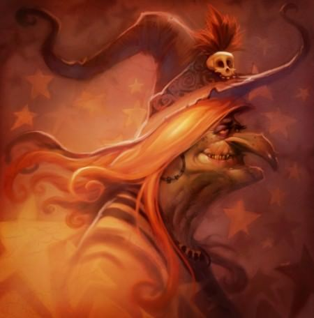 funny halloween witch photoshop humor digital painting skull