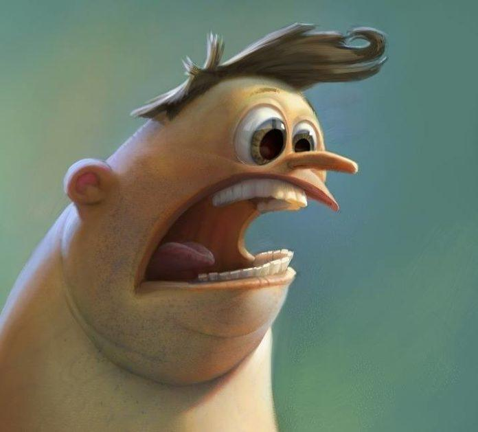funny photoshop art character design facial expression shock horror surprise pixar style