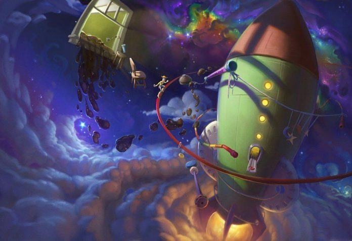 funny photoshop art space cowboy surrealism painting rocket space ship illustration