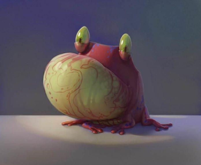 funny photoshop illustration character design marbled frog pixar style creature