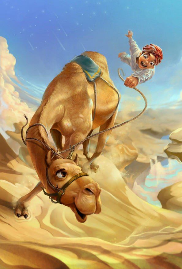 funny photoshop painting camel desert art illustration