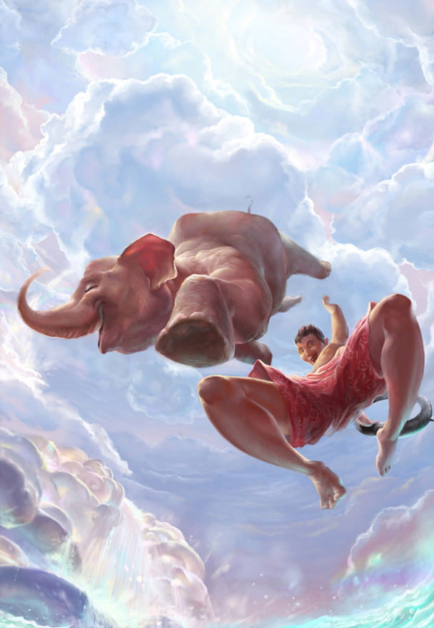 funny photoshop painting flying man elephant animal art illustration