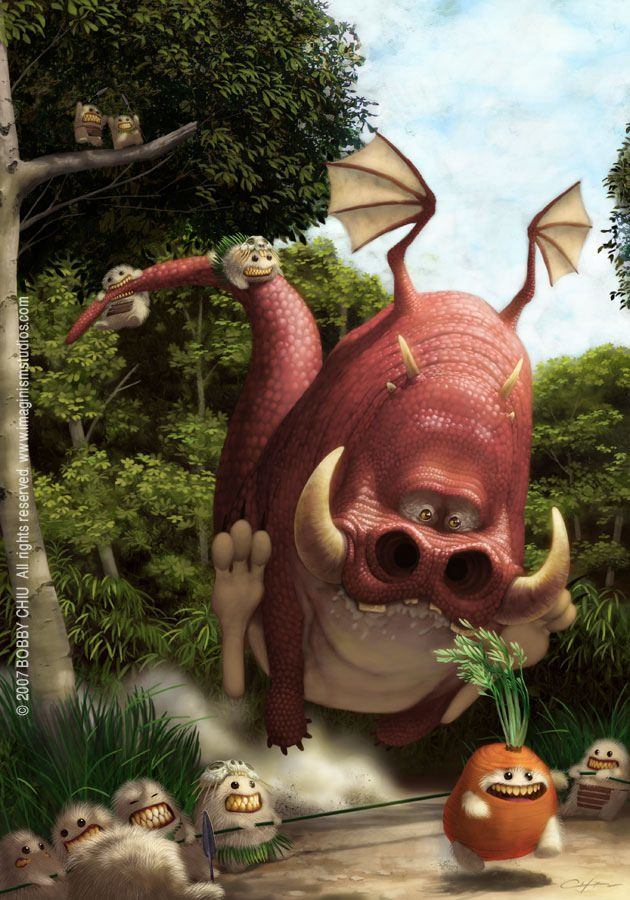 funny photoshop painting pixar style art illustration characters alien tribe monster